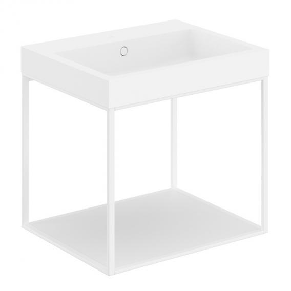 Cosmic The Grid Evo washbasin with metal stand with fixed shelf front matt white / corpus matt white