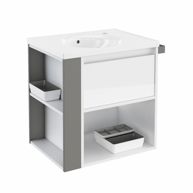 Cosmic b-smart round washbasin with vanity unit with 1 pull-out compartment and 1 compartment front white gloss/grey / corpus white gloss