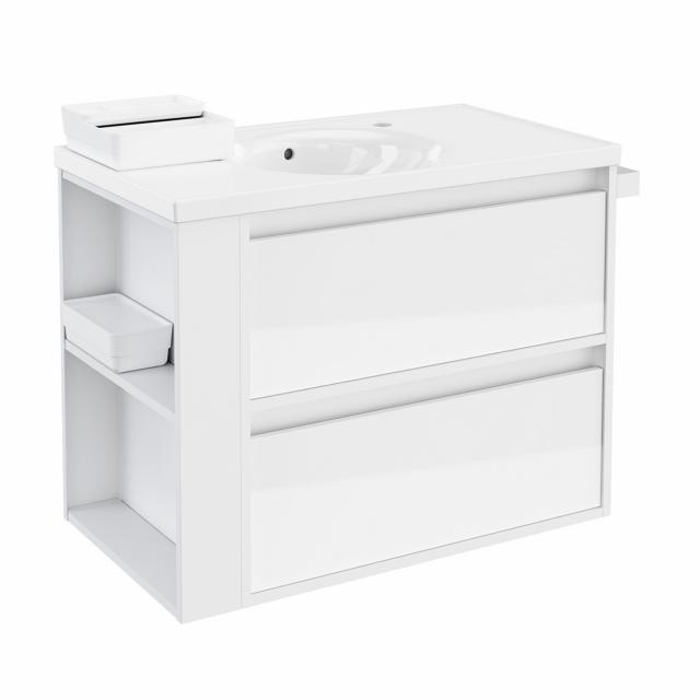 Cosmic b-smart round washbasin with vanity unit with 2 pull-out compartments front white gloss / corpus white gloss