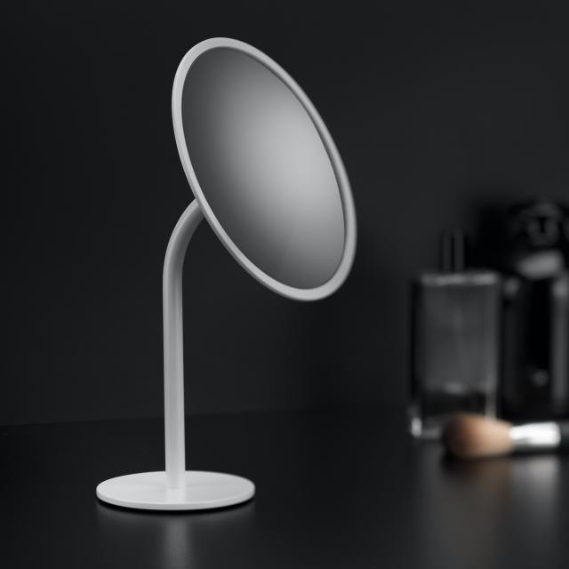 Cosmic Black & White freestanding beauty mirror matt white