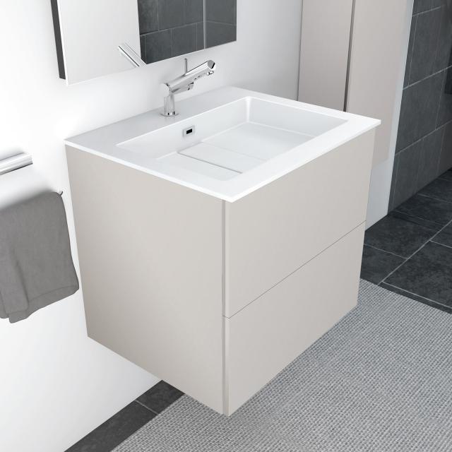 Cosmic block evo washbasin with vanity unit with 2 drawers front matt light grey / corpus matt light grey / WB white gloss