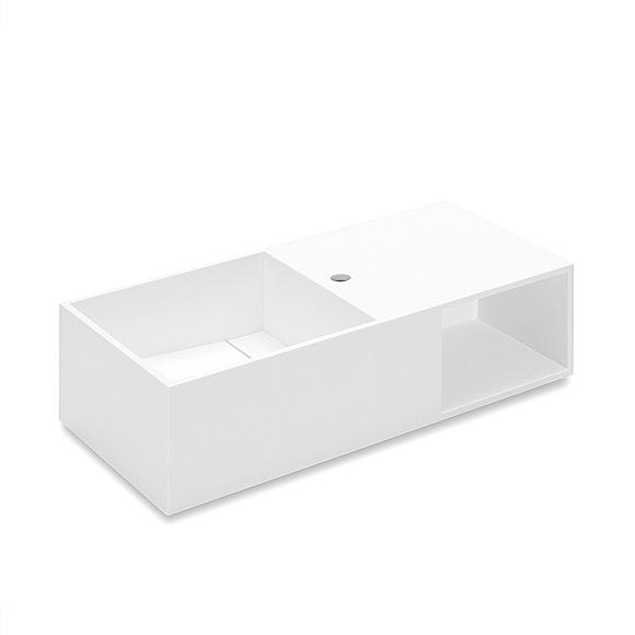 Cosmic Compact washbasin with compartment with 1 tap hole