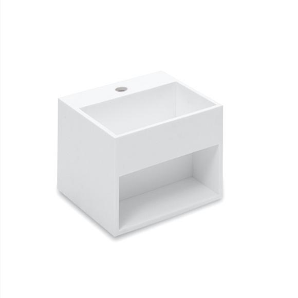 Cosmic Compact washbasin with storage space, W: 32.5 D: 32.5 cm white, with 1 tap hole
