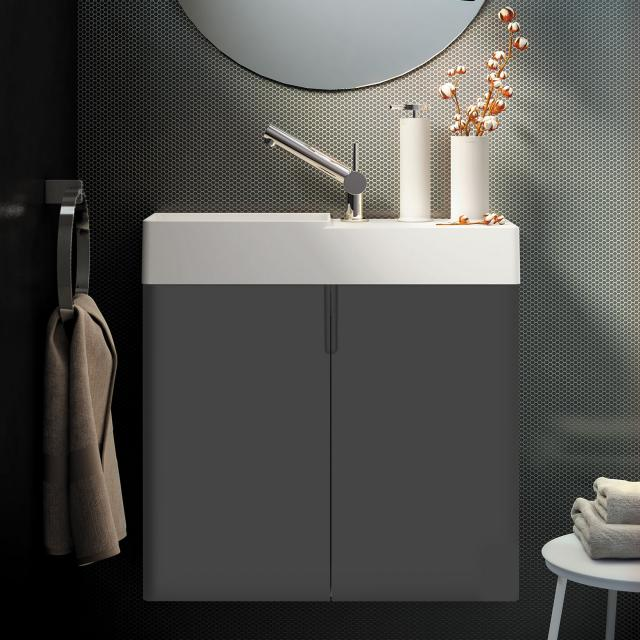 Cosmic fancy hand washbasin with vanity unit with 2 doors front anthracite / corpus anthracite / WB matt white