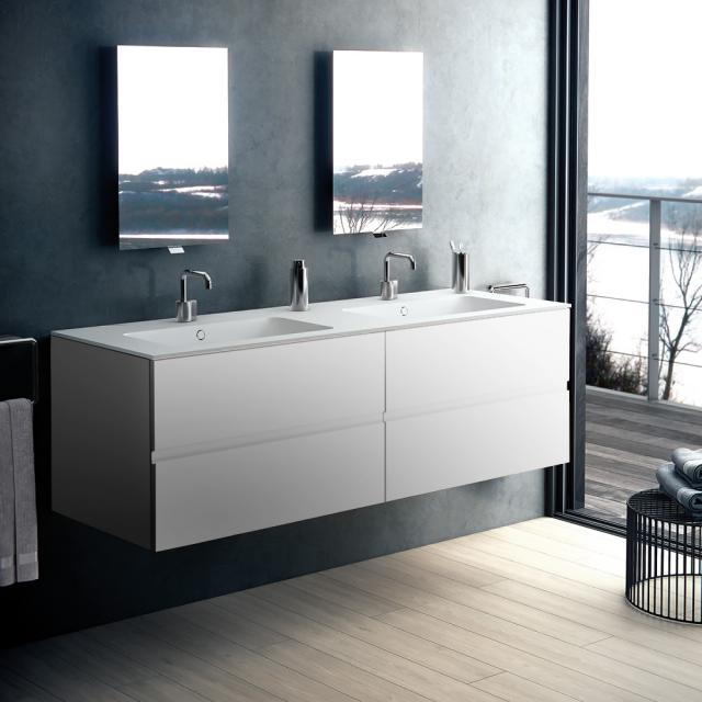 Cosmic Mod double washbasin with vanity unit with 4 pull-out compartments front matt white / corpus matt white