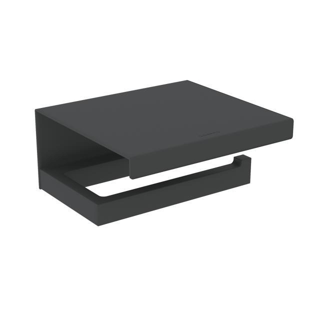 Cosmic The Grid toilet roll holder with lid matt black