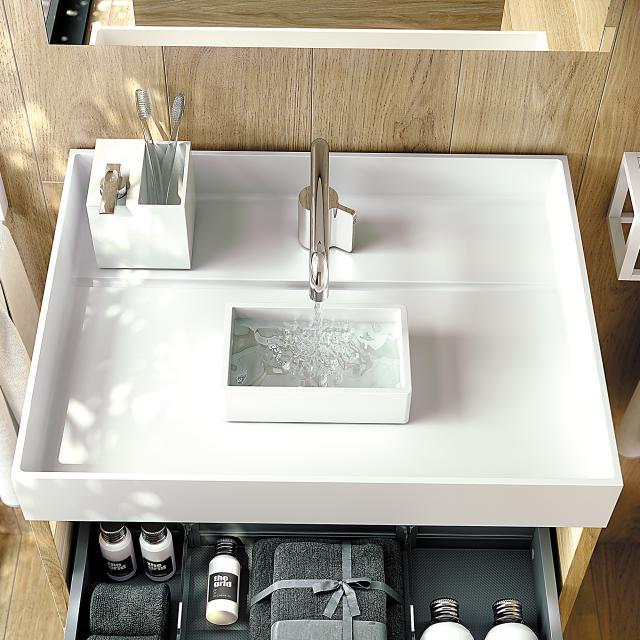 Cosmic The Grid washbasin matt white, with 1 tap hole
