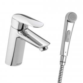 Damixa Clover Green single lever basin mixer with hand shower, with pop-up waste set