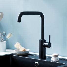 Damixa Silhouet single lever kitchen mixer Cold Start, with J spout matt black
