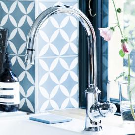 Damixa Tradition single lever kitchen mixer Cold Start, with C spout, with hand spray