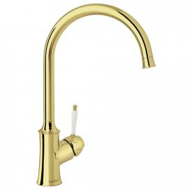 Damixa Tradition single lever kitchen mixer Cold Start, with C spout, with utility shut-off valve brass