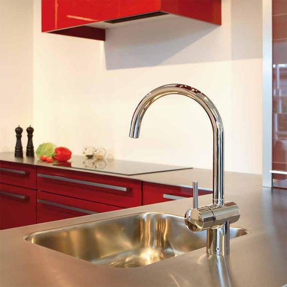 Damixa Osier single lever kitchen mixer Cold Start, with C spout chrome