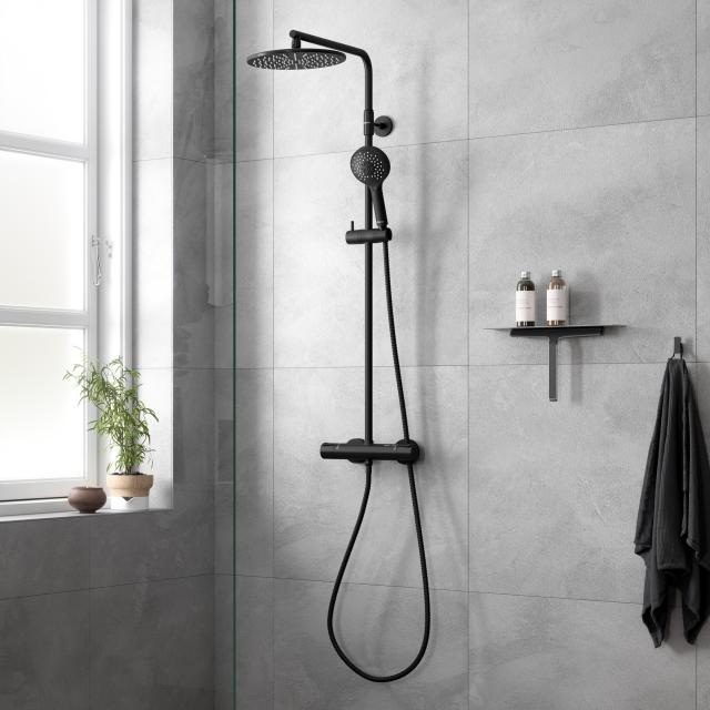 Damixa Silhouet thermostatic shower system with metal shower hose matt black