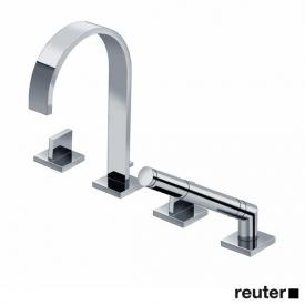Dornbracht MEM deck-mounted, four hole bath fitting, with individual escutcheons chrome