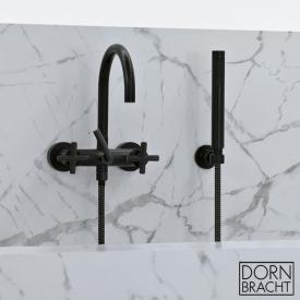 Dornbracht Tara. wall-mounted bath mixer with hand shower set & cross handles matt black
