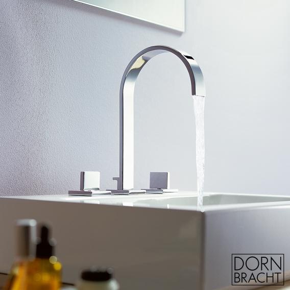 Dornbracht MEM three-hole basin mixer with individual escutcheons with waste set, chrome