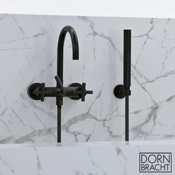 Dornbracht Tara. wall-mounted bath mixer with shower hose set matt black