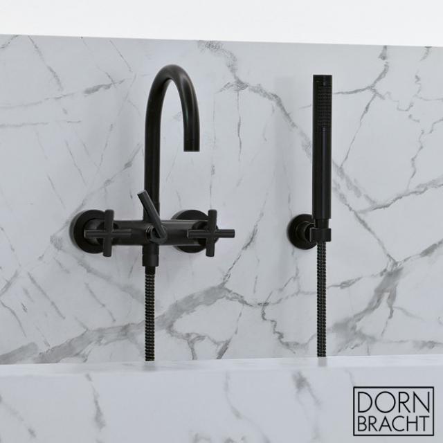 Dornbracht Tara. wall-mounted bath mixer with shower hose set matt black