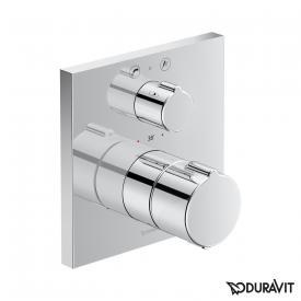 Duravit C.1 concealed bath thermostat with square escutcheon, with shut-off/diverter valve chrom