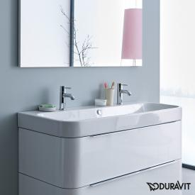 Duravit Happy D.2 double vanity washbasin white, with WonderGliss