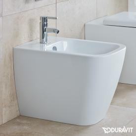 Duravit Happy D.2 floorstanding bidet, back-to-wall white, with WonderGliss