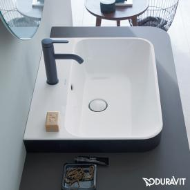 Duravit Happy D.2 Plus countertop washbasin matt anthracite/white, with WonderGliss, with 1 tap hole