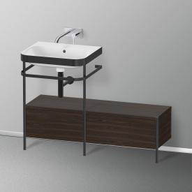 Duravit Happy D.2 Plus Lavabo avec meuble sous-lavabo et 2 tiroirs Sans trou percé, façade noyer brossé/noir mat/corps du meuble noyer brossé/noir mat, avec système d'aménagement en noyer, à droite
