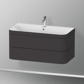Duravit Happy D.2 Plus Lavabo avec meuble sous-lavabo, 2 tiroirs 1 trou percé, façade graphite ultra mat/corps du meuble graphite ultra mat, avec système d'aménagement en noyer