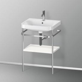 Duravit Happy D.2 Plus Lavabo avec plan de toilette métallique, 1 tablette 1 trou percé, façade blanc ultra brillant/chrome/corps du meuble blanc ultra brillant/chrome