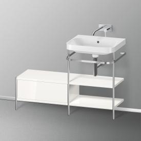 Duravit Happy D.2 Plus Lavabo avec plan de toilette métallique, 1 tiroir Sans trou percé, façade blanc ultra brillant/chrome/corps du meuble blanc ultra brillant/chrome, sans système d'aménagement