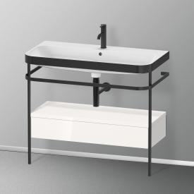 Duravit Happy D.2 Plus Lavabo avec plan de toilette métallique, 1 tiroir 1 trou percé, façade blanc ultra brillant/noir mat/corps du meuble blanc ultra brillant/noir mat, sans système d'aménagement