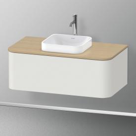Duravit Happy D.2 Plus Meuble sous-lavabo à LED pour plan de toilette avec 1 tiroir Façade blanc nordique satiné mat/corps du meuble blanc nordique satiné mat, avec système d'aménagement en érable
