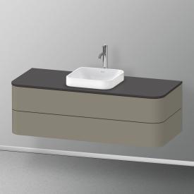 Duravit Happy D.2 Plus Meuble sous-lavabo à LED pour plan de toilette avec 2 tiroirs Façade gris pierre mat soyeux/corps du meuble gris pierre mat soyeux, avec système d'aménagement en érable