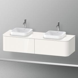Duravit Happy D.2 Plus Meuble sous-lavabo à LED pour plan de toilette avec 2 tiroirs Façade blanc ultra brillant/corps du meuble blanc ultra brillant, sans système d'aménagement