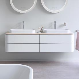 Duravit Happy D.2 Plus Meuble sous-lavabo à LED pour plan de toilette avec 4 tiroirs Façade blanc nordique satiné mat/corps du meuble blanc nordique satiné mat, avec système d'aménagement en noyer