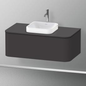 Duravit Happy D.2 Plus Meuble sous-lavabo pour plan de toilette avec 1 tiroir Façade graphite ultra mat/corps du meuble graphite ultra mat, avec système d'aménagement en érable