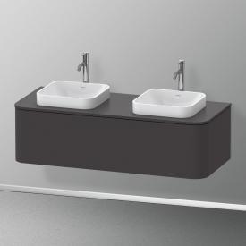 Duravit Happy D.2 Plus Meuble sous-lavabo pour plan de toilette avec 1 tiroir Façade graphite ultra mat/corps du meuble graphite ultra mat, avec système d'aménagement en noyer