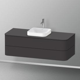 Duravit Happy D.2 Plus Meuble sous-lavabo pour plan de toilette avec 2 tiroirs Façade graphite ultra mat/corps du meuble graphite ultra mat, avec système d'aménagement en noyer