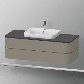Duravit Happy D.2 Plus Meuble sous-lavabo pour plan de toilette avec 2 tiroirs Façade gris pierre mat soyeux/corps du meuble gris pierre mat soyeux, avec système d'aménagement en noyer