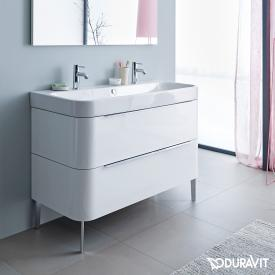 Duravit Happy D.2 floor-standing vanity unit with 2 drawers front white high gloss / corpus white high gloss, with interior system in walnut
