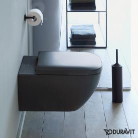 Duravit Happy D.2 wall-mounted, washdown toilet rimless, matt anthracite, with WonderGliss