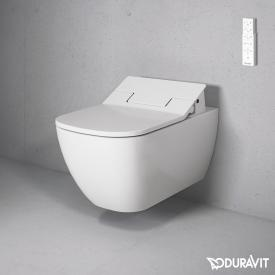 Duravit Happy D.2 wall-mounted washdown toilet Rimless with NEW SensoWash® Slim toilet seat, set white, with WonderGliss