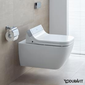 Duravit Happy D.2 wall-mounted washdown toilet Rimless with SensoWash® Starck e toilet seat, set white, with WonderGliss