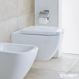 Duravit Happy D.2 wall-mounted, washdown toilet, rimless, longer version white, with WonderGliss