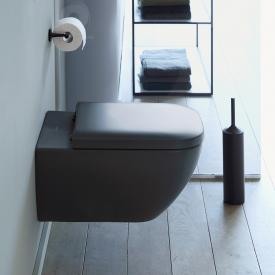 Duravit Happy D.2 wall-mounted, washdown toilet with toilet seat, rimless anthracite, with WonderGliss