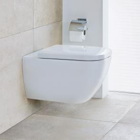 Duravit Happy D.2 wall-mounted, washdown toilet with toilet seat, rimless white, with WonderGliss