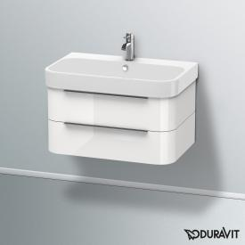 Duravit Happy D.2 washbasin with vanity unit with 2 pull-out compartments white, with WonderGliss, with 1 tap hole