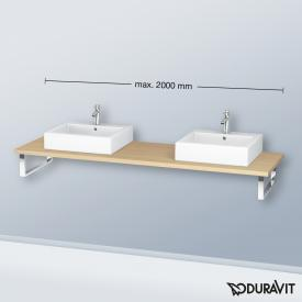 Duravit L-Cube console for 2 countertop basins and drop-in basins mediterranean oak