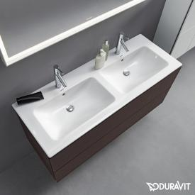 Duravit ME by Starck double vanity washbasin white, with WonderGliss, with 2 tap holes