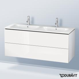 Duravit ME by Starck double washbasin with L-Cube vanity unit with 2 pull-out compartments front white high gloss / corpus white high gloss, without interior system, WB white, with WonderGliss, with 2 tap holes